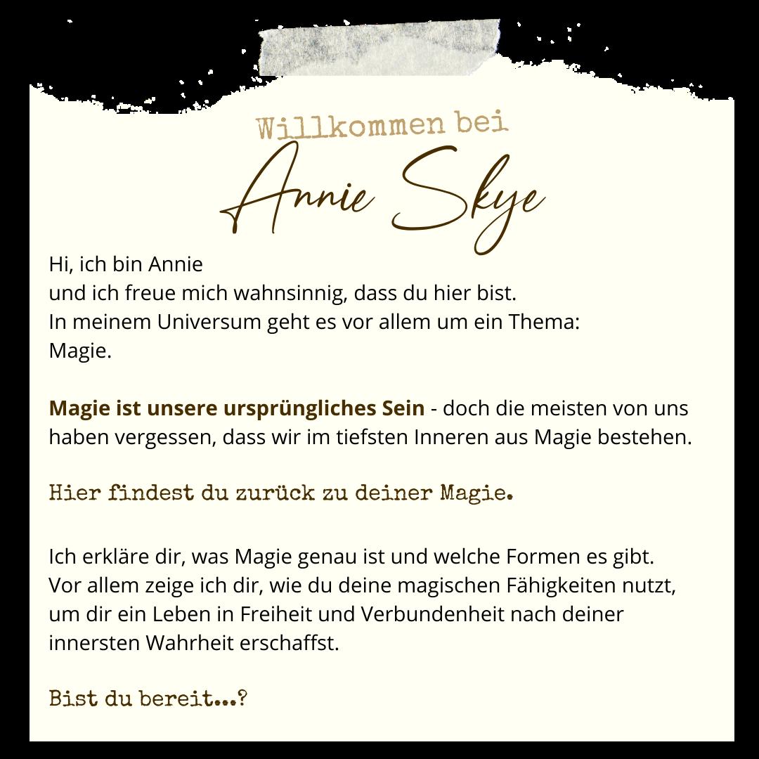 Annie Skye, Spiritualität, Magie, Persönlichkeitsentwicklung, Tarot